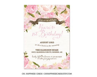 Vintage Garden Party Floral Birthday invitation- Spring or Summer floral // Digital or Printed (FREE SHIPPING)