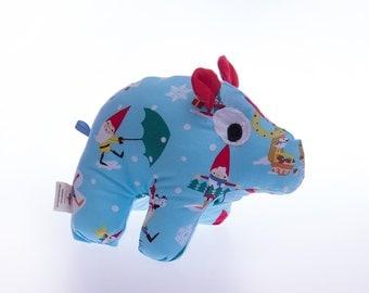 Stuffed Hippopotamus,Christmas gift,Plush animals,Handmade children's toys, Baby toys, Henry,Organic toys