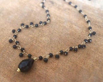 Black Onyx Necklace - Gemstone Jewelry - Gold Jewellery - Tear Drop Pendant - Wire Wrapped - Luxe - Statement