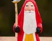 Hand Carved Santa With Chickadee--Robin Arnold,Wooden Christmas Art, Folk Art, Handmade in Ohio,  Christmas Art, Bird, Animal, Nature