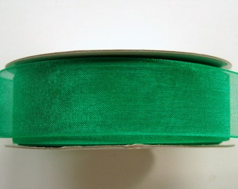 "7/8"" Organza Ribbon - 25 yard Spool - Emerald Green"