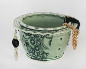 Sage Celadon Ruffled Rim Earring and Jewelry Bowl