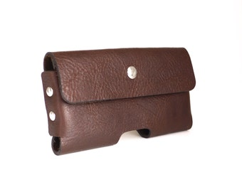 iPhone 6 S Holster in Dark Mahogany Leather- original design, laser cut, hand stitched, hand made, strong magnetic closure