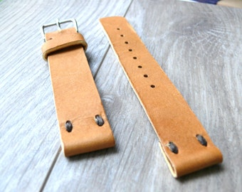 22mm watch strap Camel Brown leather watch band, Handmade leather watch strap, light brown genuine leather watch strap 18mm watch band