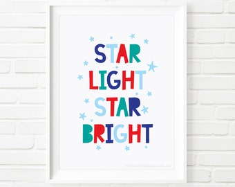 Kids Prints, boys print, printable quote, Star light star bright, nursery printable wall art, Printable Art, children's print, wall art