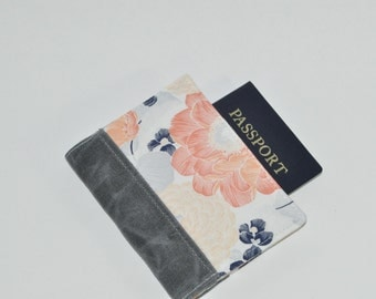 Passport Wallet // Peach Floral Passport Holder - Mini Journal Cover - Peony Print Family Travel Wallet - Gift for Her - Made to Order