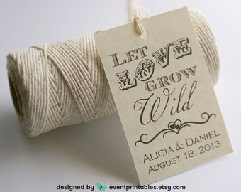 Let Love Grow Wild Favor Tags, Printable Wedding Favor Tags, Bridal Shower Tags, Personalized Gift Tags by Event Printables