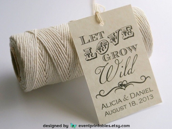 Free Printable Wedding Gift Tags: Let Love Grow Wild Favor Tags Printable Wedding Favor Tags