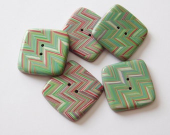 Square Sewing Buttons, polymer clay buttons, green and red chevron pattern buttons