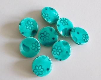 Polymer Clay Shank Buttons, 19 mm mint green buttons