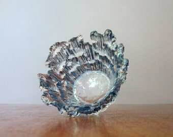 Mid Century Humppila Glass Candle Holder / Small Bowl Blue