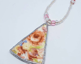 Lovely Rosey Design Plate in a Triangle Shaped Piece Silver Solder and Beaded Necklace