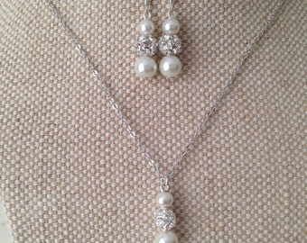 Single Floating Pearl Jewelry Sets - Necklace and Drop Earrings, weddings, bridesmaid jewelry