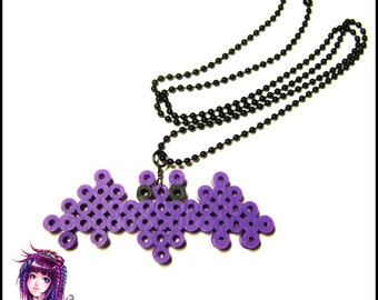 Purple Kawaii Bat Perler Bead Pixel Art Necklace