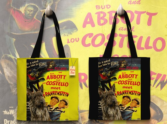 Berger Picard Art Tote Bag - Abbott and Costello Meet Frankenstein Movie Poster   Perfect CHRISTMAS Gift SALE 30 off Free Shipping