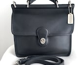 Vintage Coach Gray Leather Willis with Silver/Nickel Hardware, Style 9927, Made in the USA