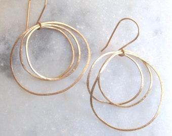 Sea Earrings. Gold Hoop Earrings. Gold Earrings. 14k gold Earrings. Hammered Earrings. Post earrings. Minimal Jewelry. Harmony Winters