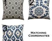 SALE Designer Pillows- Premier Prints Indigo/ Laken Blue Pillow Cover- All Sizes- Zippered Pillow- You Choose- Taupe Linen Cushion Cover