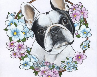 Original Frenchie Drawing / acrylic paint on quality paper