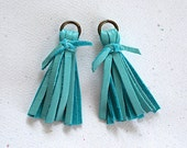 Blue Turquoise Mini Tassels Deerskin Leather With Knot & Brass Jump Ring -50mm- 2 Pieces