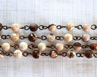 Zebra Jasper Bead -6mm- Rosary Style Chain Simple Loop Brass Linked SemiPrecious Stone Necklace - 30 Inches