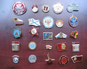 Vintage Russian Pins Group Of 25 Pins