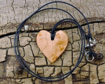 WOOD Necklace - Bird's Eye Maple - Wooden Heart Necklace - Wood Heart - Heart Necklace - Valentine's Day