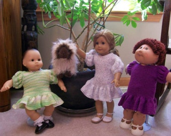 82) Knitted Flair Bottom Dress for American Girl, Bitty Baby, Cabbage Patch Dolls 15 and 18 Inch Dolls Flair Bottom