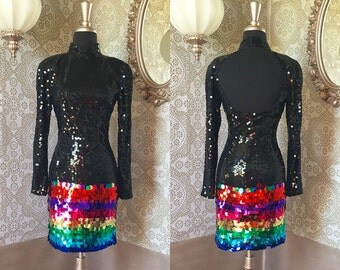 Vintage 1980's Black and Rainbow Sequined Party Dress Mini Dress S/XS
