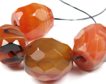 SALE - originally 9.32 - Dainty Natural Macro-Faceted Carnelian Barrel Bead - 15mm x 12mm - 6 Pieces - B4194