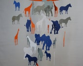 Safari Decorative Mobile - Orange, Navy Blue, White, Gray