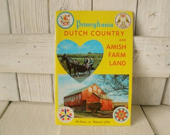 Vintage souvenir booklet Pennsylvania Dutch Country Amish color photos 1960s