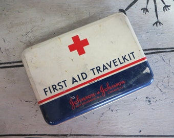 First Aid Kit Tin Johnson and Johnson Tin Storage Tin Medical Tin Vintage First Aid Tin Medicine Americana Decor Red White Blue 4th of July