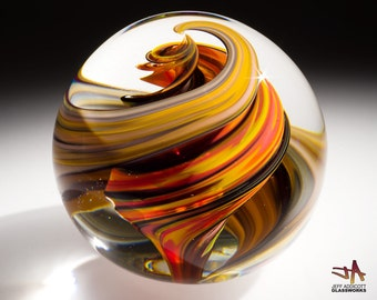 Handblown Glass Paperweight - Marble Pattern with Hot Color and Earth Tone Spirals