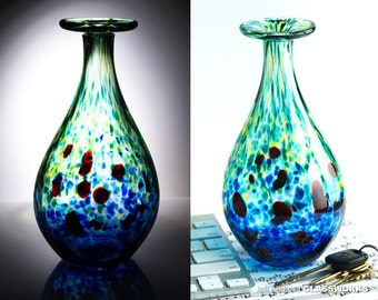 Hand Blown Glass Bud Vase - Green and Blue with Ruby Dots