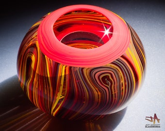 Hand Blown Glass Paperweight - Hot / Tortoise Swirls with Lens Top