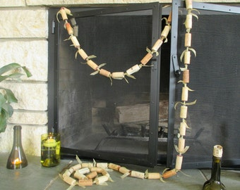 9' Wine Cork Garland with Gold Ribbon Ties