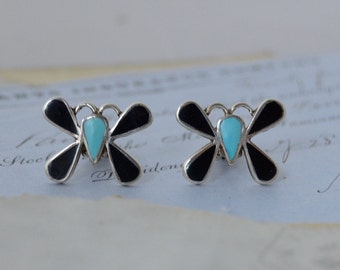 Onyx and Turquoise Butterfly Earrings - Clip On