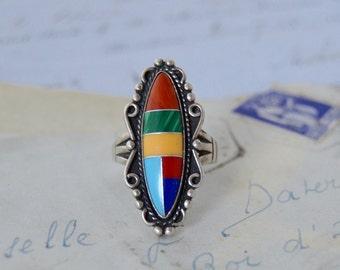 Southwestern Multicolored Stone Ring - Size 8.75