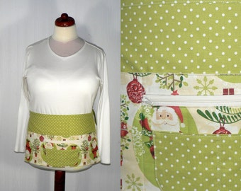 WOODLAND CHRISTMAS Lotsa Pockets Apron, Vendor Apron with zipper pocket, Teacher/ Waitress Apron- LIMITED edition, made to order in 2 sizes
