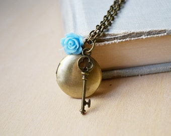 Blue Rose and Key Delicate Customized Photo Locket Necklace