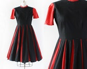 1950s Cotton Dress / 1950s Striped Day Dress / Stripes Black and Red / Small Medium 28 Waist