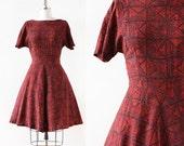 Batik Print / 1950s Dress / Cotton Day Dress / 1950s Cotton Dress / Medium 27 Waist
