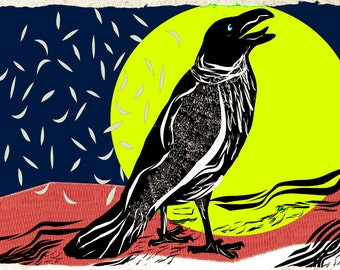 Crow And the Sun- original linocut based print