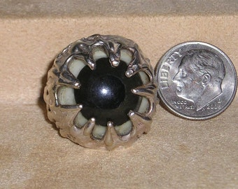 Vintage Sterling Silver Eye Ball Ring Men's Or Ladies 1970's Size 9 Signed Jewelry 2243