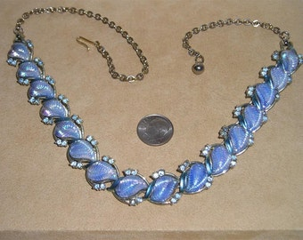 Vintage Fancy Blue Molded Iridescent Glass And Enamel Rhinestone Necklace 1950's Jewelry 3066