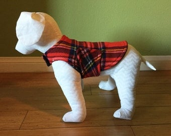Fleece Dog Coat, Medium, Red, Blue, Black, Yellow, and White Tartan Plaid Fleece with Black Fleece Lining
