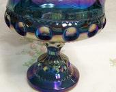 Carnival Glass Bowl Wedding Bowl Iridescent Blue Indiana Glass