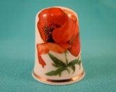 Thimble Bone China with Poppy Flowers