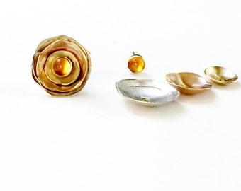 Rose Gold Ear Jacket, Flower Jewelry for Wife, Silver Ear Jacket, Citrine Earrings, Stud Earrings, Ear Jackets,  November Birthstone Earring